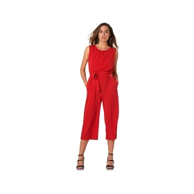 Stretch jumpsuit with ruffled neckline
