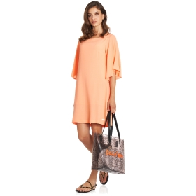 Dress with wide flared sleeves and boat neck