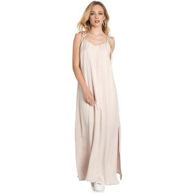 Long slip dress with bow straps and side slit