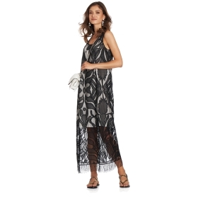 Long dress with damask pattern and tassels