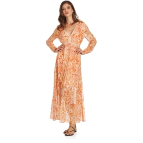 Long printed dress with V-neck