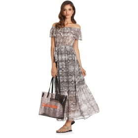 Long flounce dress with boat neck