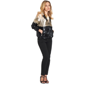 Patent leather bomber jacket with hood