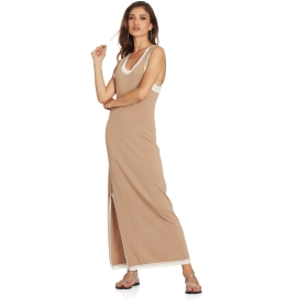 Long dress with Lurex details and side slit