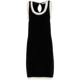 Sleeveless shift dress with Lurex details