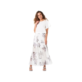 Long printed skirt with flounce