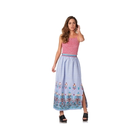Long striped skirt with embroidery