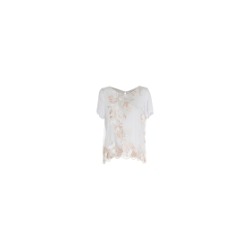 Embroidered fabric t-shirt