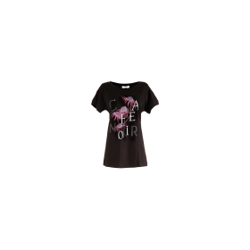 T-shirt with distressed logo and flowers