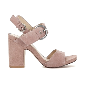 Suede sandals with two bands and buckle