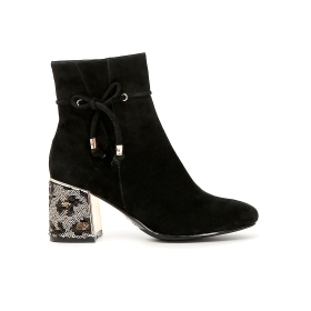 Suede ankle boots with lacing and glitter heel