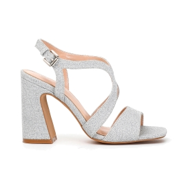 Sandals with Lurex fabric crossover strap