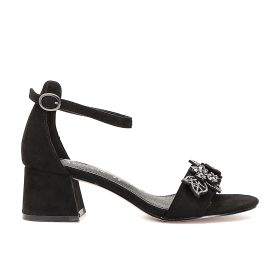 Closed-heel microfibre sandals with flowers