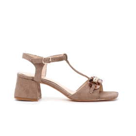 T-bar sandals in microfibre with chain accessory on strap