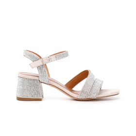 Gilda sandals with two microfibre straps with rhinestone appliqués