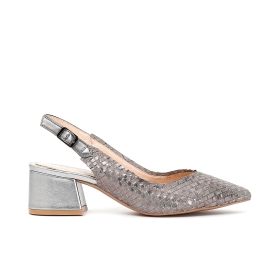 Open suede patent heeled woven shoe