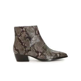 Ankle boots with split in the middle, in printed python leather and suede