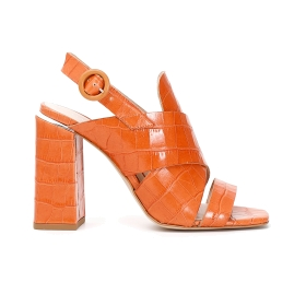 High heel sandals with crock print leather tongue