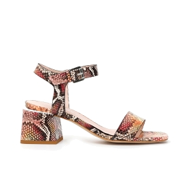 Gilda python print leather sandals with heel