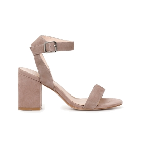 Suede sandals with ankle strap