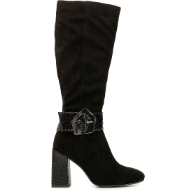 Boots with asymmetric buckle and decorated heel