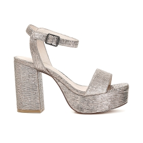 Gilda sandals in pleated patent imitation leather