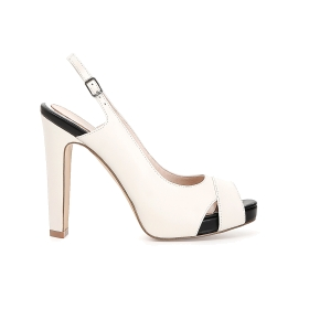 Open toe court shoe with crossover and open heel