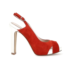 Suede open toe court shoe with crossover and open heel