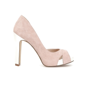 Suede open toe court shoe with crossover