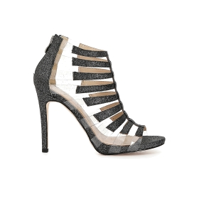 Cage sandals in transparent PVC and glitter