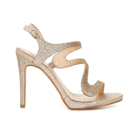 Asymmetric sandals in glitter and transparent PVC