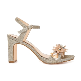 Glitter gilda sandals with floral accessory
