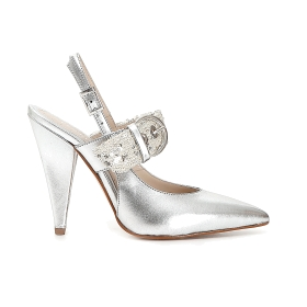Court shoe in patent leather with sequin band