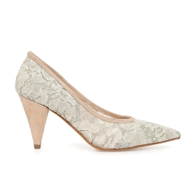 Lace court shoes with with suede panels