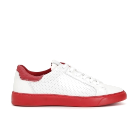 Microperforated leather sneakers with contrasting colour sole