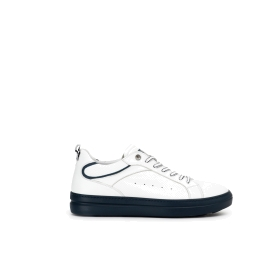 High top calfskin sneakers with contrast colour sole