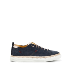 Nubuck lace-up sneakers with exposed stitching