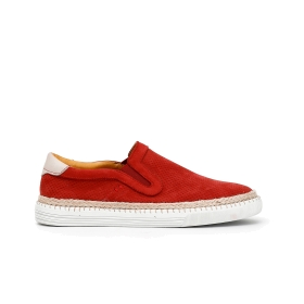 Nubuck slip-on shoes with exposed stitching