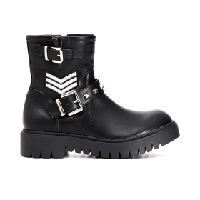 Special price: Imitation leather ankle boots with buckle