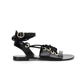Special price: Leather sandals with laces and ankle strap