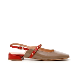 Two-tone nappa and patent leather ballet flats Beige 35