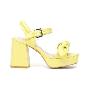 Block heel and platform sandals with band decorated with maxi bow in faux nappa Yellow 39
