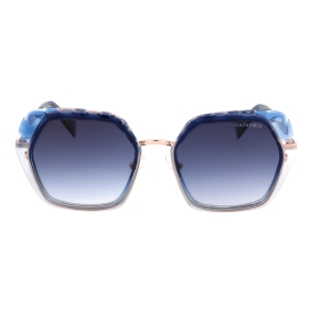 Combination acetate and metal sunglasses with a geometric shape and a contemporary look