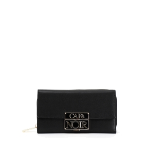 Wallet with enamelled logo closure