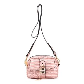 """Small shoulder bag with outer """"lock&key"""" accessory"""