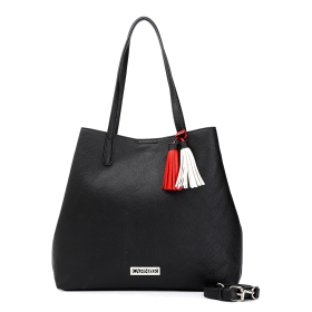 Shopping bag with tassels and shoulder strap with threading