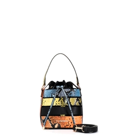 Bucket bag with multiple straps in python print