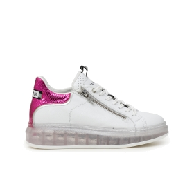 Printed leather sneakers with transparent sole