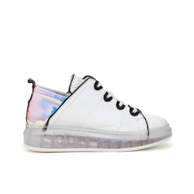 Sneakers with transparent sole and all-black details