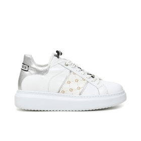 Leather sneakers with contrasts